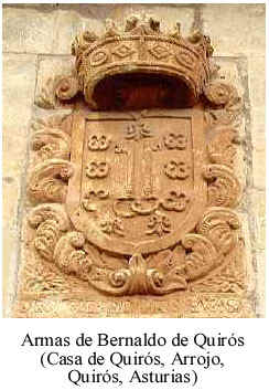 Blasón de los Bernaldo de Quirós en su casa de Arrojo (Quirós, Asturias). Las flores de lis son de Bernaldo; las llaves, de Quirós; y los luneles, parece que de Somonte