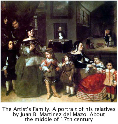 The Artist's Family. Oil on canvas by Juan Bautista Martínez del Mazo (c. 1612-1667). Art History Museum (Viena). Click here to enlarge the information about the family (in Spanish)