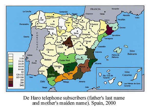 ... Provincial Distribution Of The De Haro Name (Of Haro, Spanish Town).  Spain