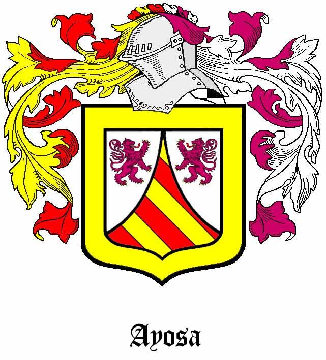 Escudo de un linaje del apellido Ayosa o Ayoza, de supuesto origen navarro. Si quieres verlo con mayor nitidez, pulsa encima