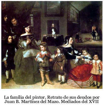 La familia del pintor. Óleo sobre lienzo de Juan Bautista Martínez del Mazo (c. 1612-1667). Kunsthistorisches Museum de Viena. Pulsa encima para ampliar la información sobre la familia