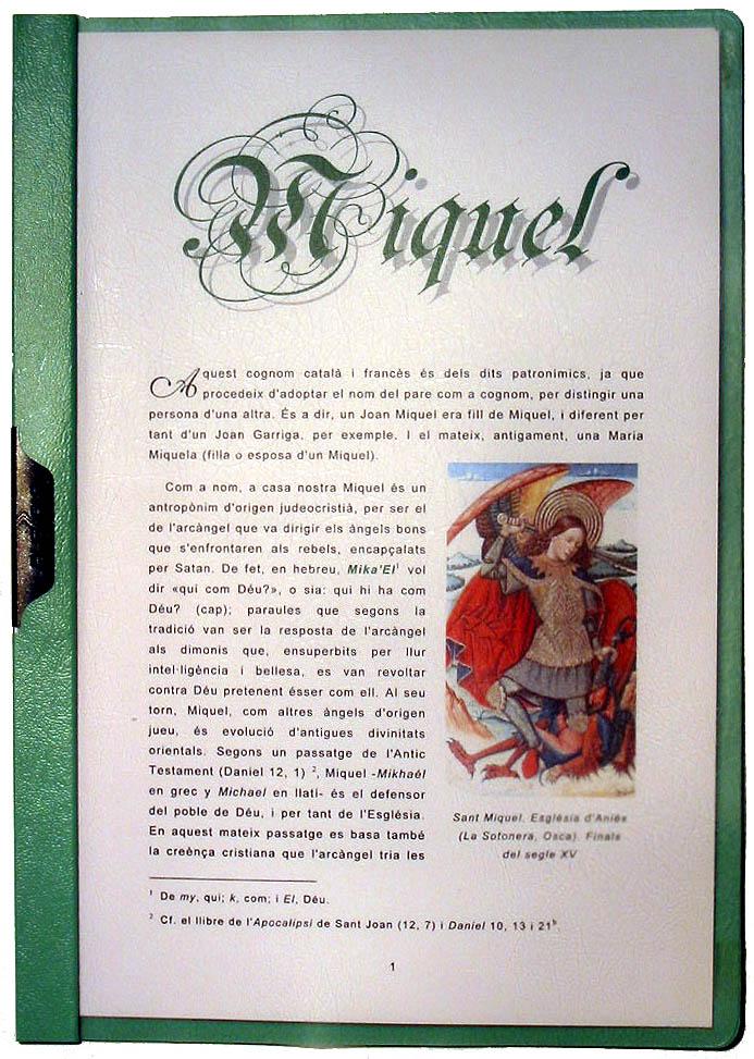 Portada en catalán del apellido Miquel